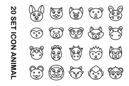 20 Set icons animals on white background 矢量图像