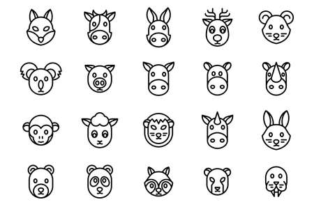 20 pack of animal icon designs Illustration