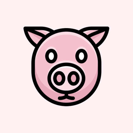Cute cartoon design with pig animal character
