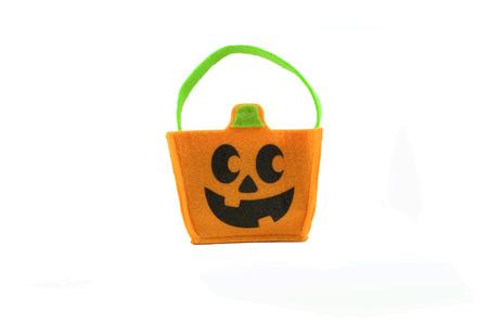 tote: Halloween pumpkin tote bag on white background Stock Photo