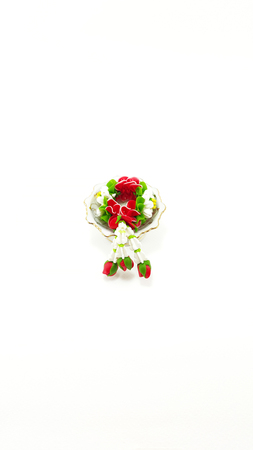 polymer: Small Polymer Clay Garland Of Jasmine Flowers on tray with pedestal; white background