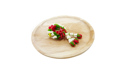 polymer: Small Polymer Clay Garland Of Jasmine Flowers on wooden tray; white background
