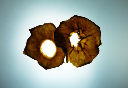 tracing: Dehydrated red apple on light tracing board background