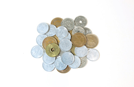 silver coins: Pile of coins Silver and gold on white background