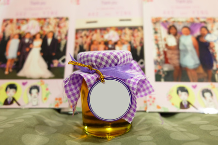 Honey jar with blank tag in the front, wedding souvenir