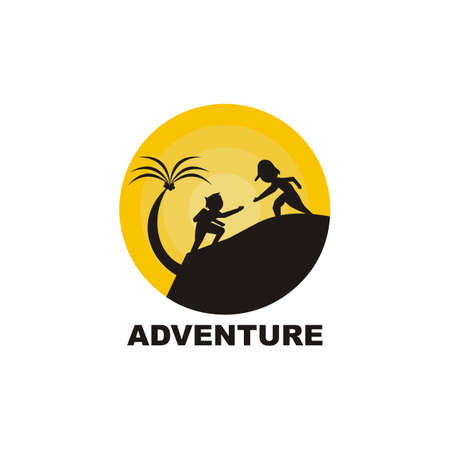 silhouette hiking design logo on the mountain - illustration - vector