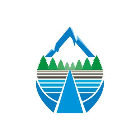 mountain, forest, river design logo vector Ilustrace