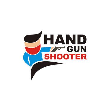 the man holding handgun design vector Banque d'images - 151489403