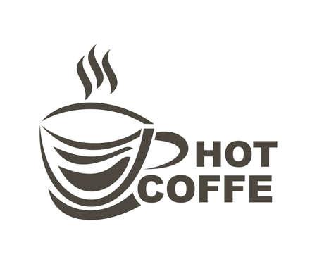 hot coffe design logo vector - drink Ilustrace