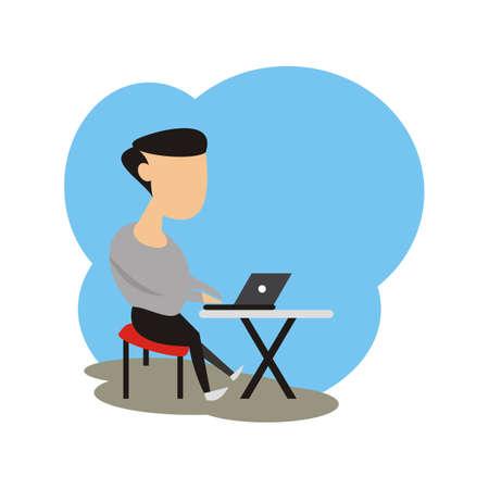 man use laptop in room illustration vector - flat style 向量圖像