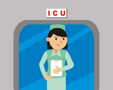 nurse at work in hospital vector - illustration