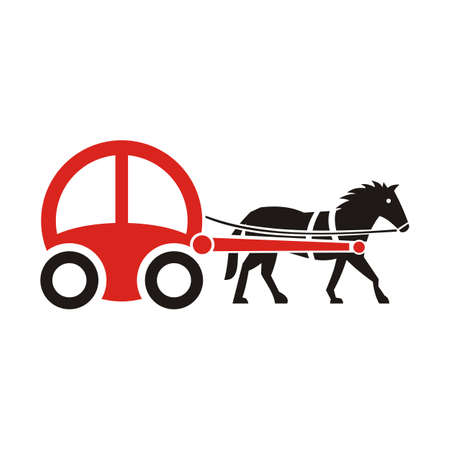 horse-drawn carriage vector - illustration Illustration