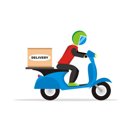 delivery man riding at scooter illustration