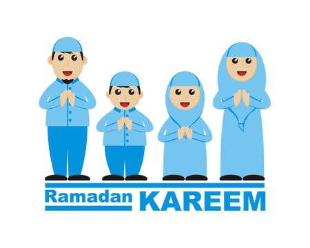 moslem family greeting ramadan kareem illustration