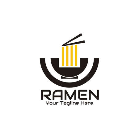 illustration vector graphic of The ramen is taken with chopsticks in a round bowl, perfect for ramen, fast food, noodles, cafe, restaurant, etc