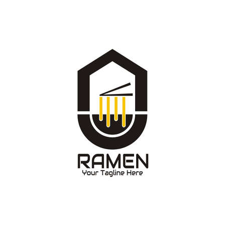 illustration vector graphic of The ramen is taken with chopsticks in a black bowl against the background of the house, perfect for ramen, noodle, fast food, cafe, restaurant, resto, etc.