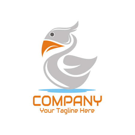 illustration vector graphic of a goose swimming in the water, perfect for animal, company, business, etc.