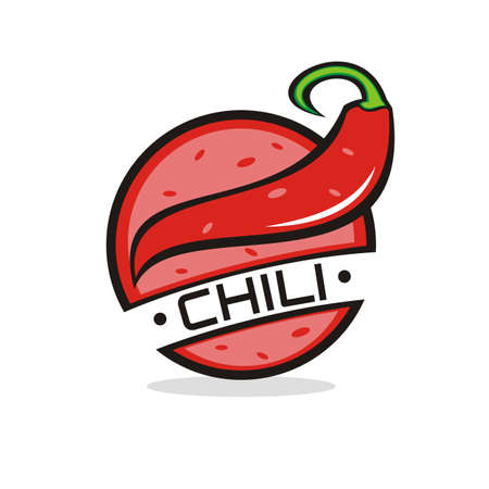 illustration vector graphic of red chilli circle logo, perfect for food, restaurant, cafe, fastfood, product, nature, etc.