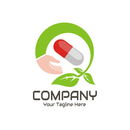 illustration vector graphic of The medicine capsule is held, circled by hand and green leaves, perfect for medical, medicine, pharmacy, health, etc.