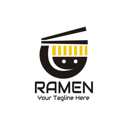illustration vector graphic of modern logo of ramen noodles in a sunken bowl, perfect for fast food, cafe, restaurant, business, food, etc.