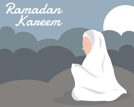 illustration vector graphic of Muslim women are praying at night under moonlight, perfect for religion, islamic, poster, infographic, ramadan kareem, greeting, etc.