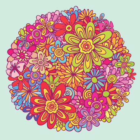 combination: variety flower colorful combination Illustration