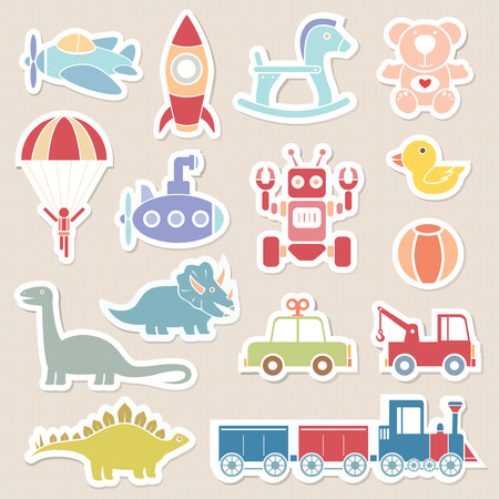 pastel color: toys icon pastel color sticker illustration vector Illustration
