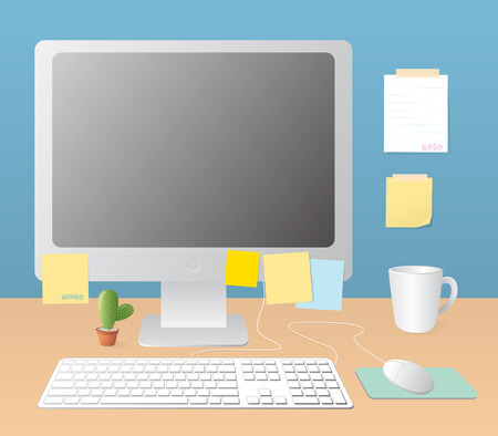 workspace: workspace and monitor computer vector illustration