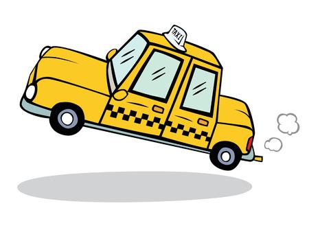 drive car: yellow taxi  cartoon illustration vector Illustration