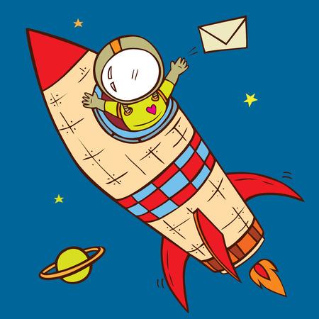 estrella caricatura: astronauta entrega para enviar la ilustraci�n vectorial carta