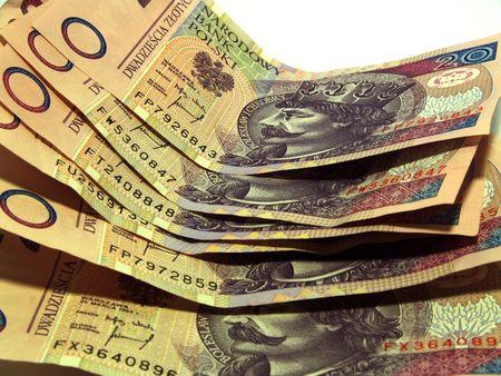 Money. Banknotes close up on white background.      photo