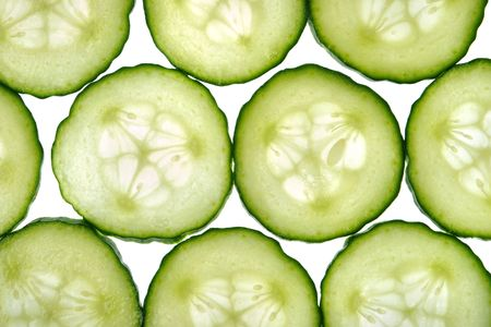 cucumber: Sliced cucumber isolated on a white background