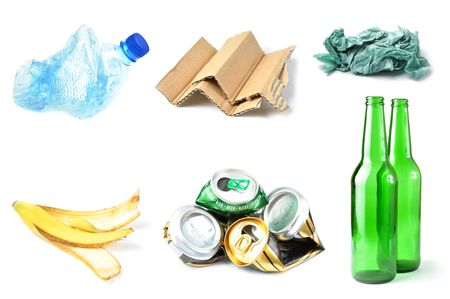 recycle plastic: Sample of trash for recycling isolated on white background Stock Photo