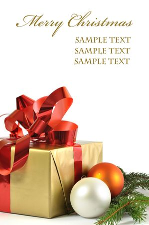 Christmass gift and baubles isolated on white background Stock Photo - 7824371