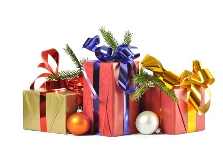 Christmass gift and baubles isolated on white background Stock Photo