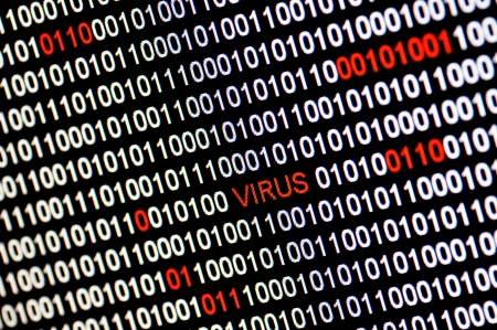 Closeup of binary code infected by computer virus. photo