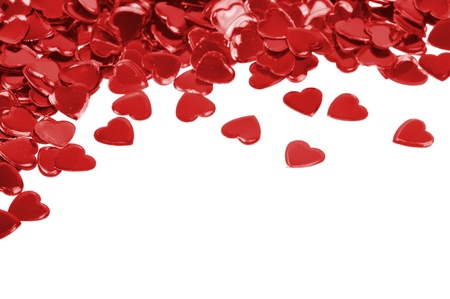 Red hearts confetti isolated on white background