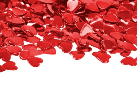 Red hearts confetti isolated on white backgroundRed hearts confetti isolated on white background Stock Photo - 8601492