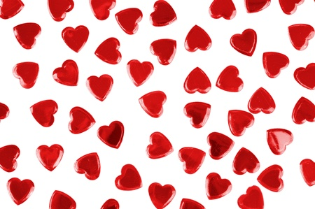 Red hearts confetti isolated on white background Stock Photo - 8688255