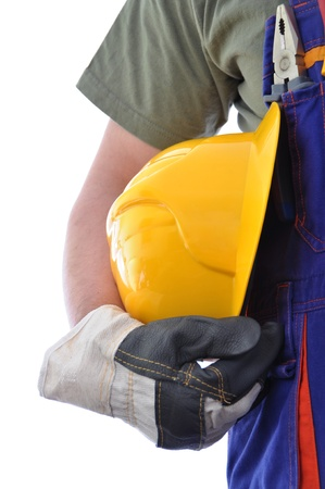 Construction worker isolated on white background