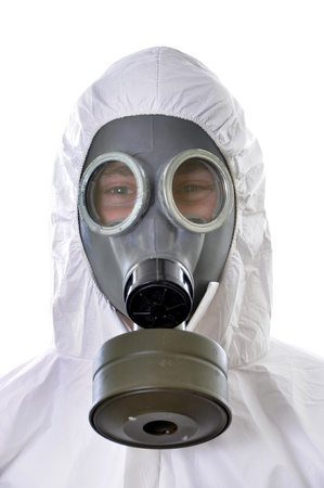 radiation hazard: Portrait of a man in protective wear isolated on white background