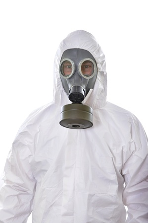 health dangers: Portrait of a man in protective wear isolated on white background