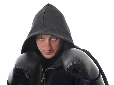Young boxer in hood isolated on white background Stock Photo - 9398386