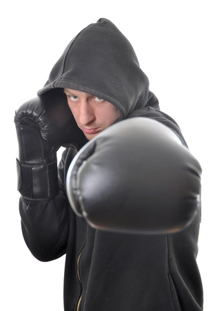 Young boxer in hood isolated on white background Stock Photo - 9398392