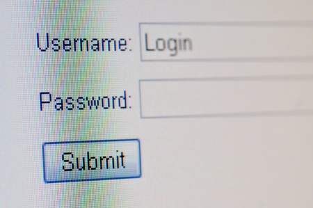 A macro closeup of a computer screen with a username text box,  password text box and submit button. photo