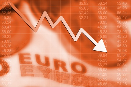 Arrow graph going down and euro currency in background Stock Photo