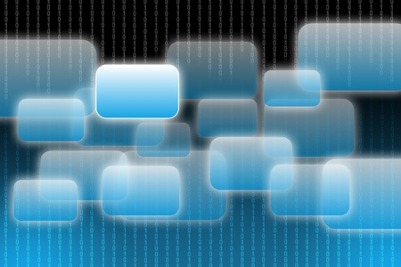 Abstract background with binary code and touch screen buttons photo