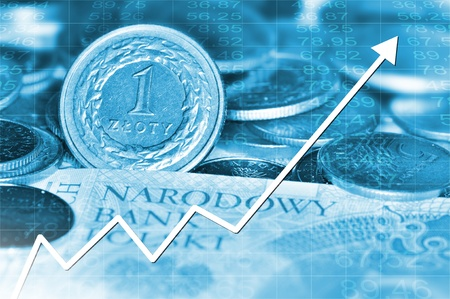 all in: Gr�fico de flecha que va hacia arriba y pulir la moneda en el fondo. Todo en color azul. Foto de archivo