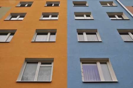 agglomeration: The front of a apartment building in Poland  Stock Photo