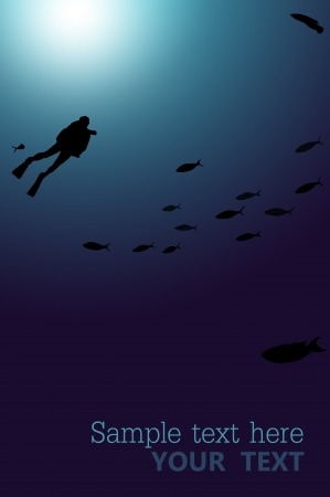 Diver underwater blue background with space for your text Stock Photo - 14719340